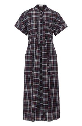 Хлопковое платье-рубашка в клетку с поясом | Фото №1