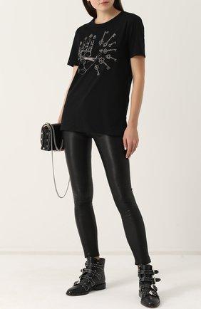 Женские укороченные кожаные брюки-скинни PAIGE черного цвета, арт. 3153A13-1086 | Фото 2