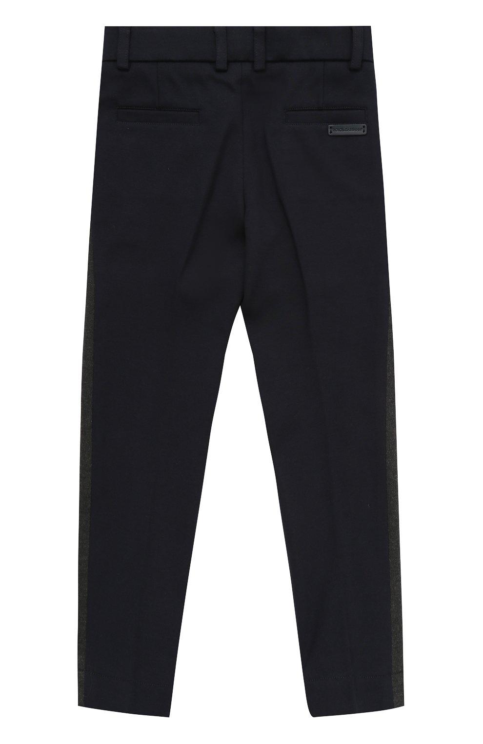 Детские хлопковые брюки прямого кроя с лампасами Dolce & Gabbana темно-синего цвета | Фото №2