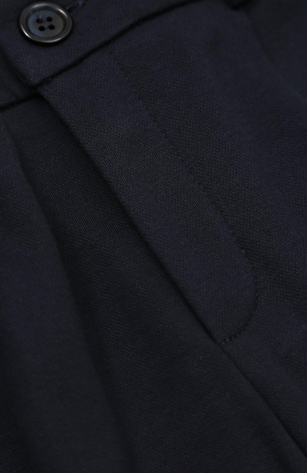 Детские хлопковые брюки прямого кроя с лампасами Dolce & Gabbana темно-синего цвета | Фото №3