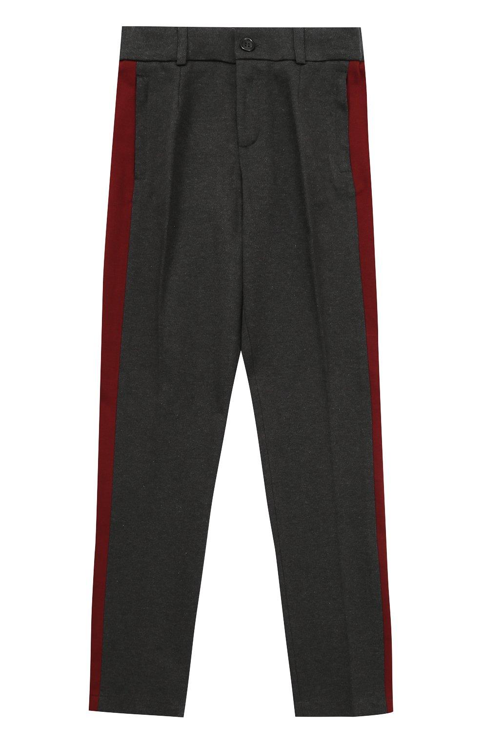 Хлопковые брюки прямого кроя с лампасами   Фото №1