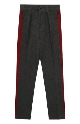 Детские хлопковые брюки прямого кроя с лампасами Dolce & Gabbana темно-серого цвета   Фото №1
