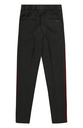 Детские хлопковые брюки прямого кроя с лампасами Dolce & Gabbana темно-серого цвета   Фото №2
