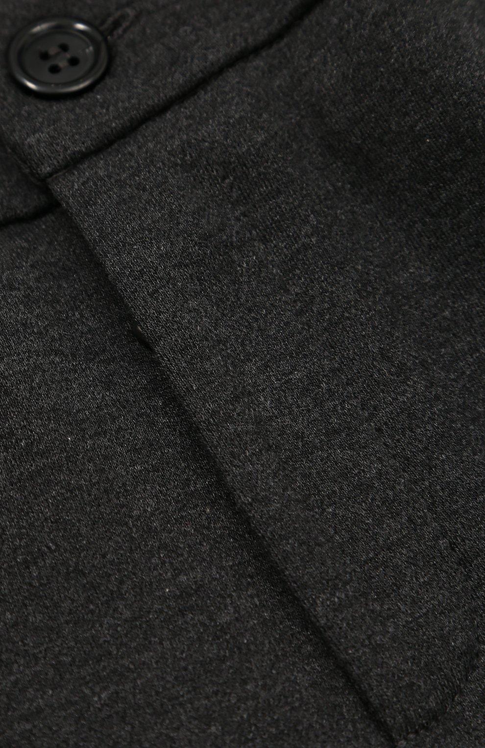 Детские хлопковые брюки прямого кроя с лампасами Dolce & Gabbana темно-серого цвета   Фото №3