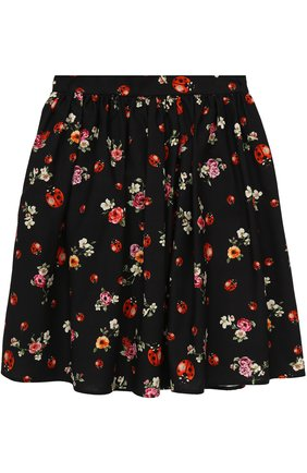 Хлопковая юбка-миди свободного кроя с принтом   Фото №1