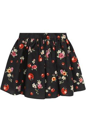 Хлопковая юбка-миди свободного кроя с принтом | Фото №1