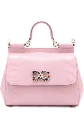 Сумка Sicily medium new с брошью Dolce & Gabbana розовая цвета | Фото №1