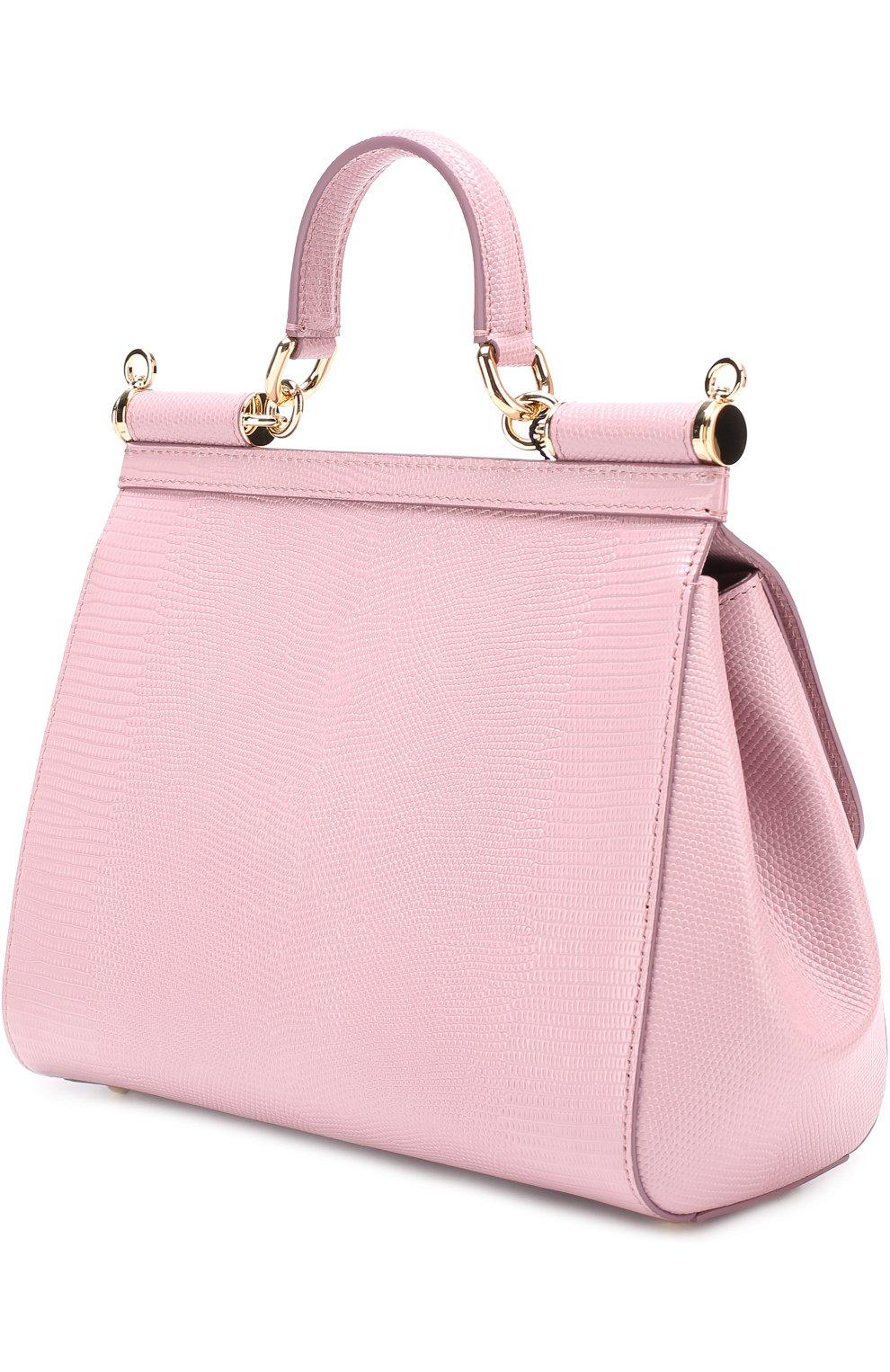Сумка Sicily medium new с брошью Dolce & Gabbana розовая цвета | Фото №3
