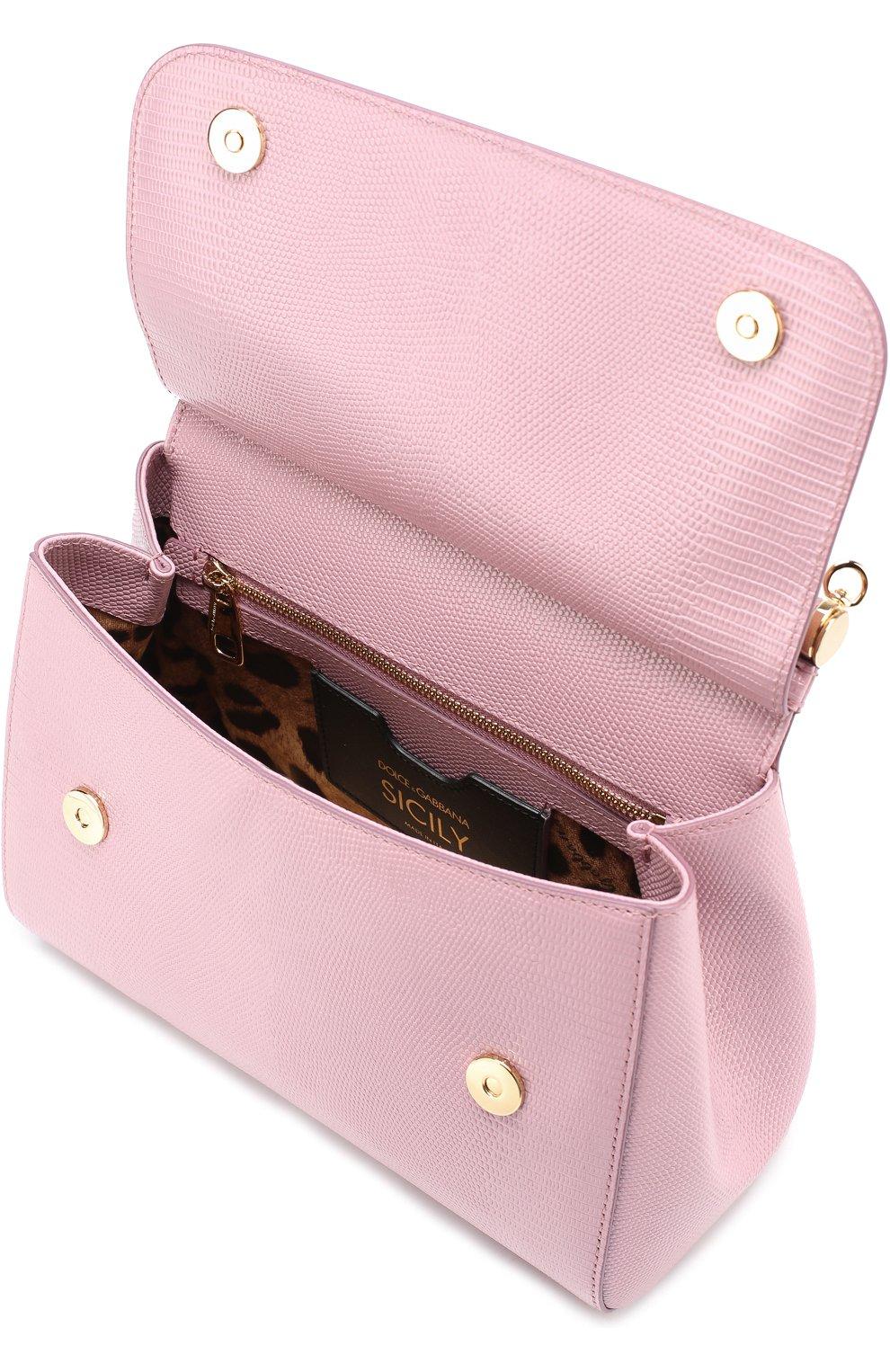 Сумка Sicily medium new с брошью Dolce & Gabbana розовая цвета | Фото №4