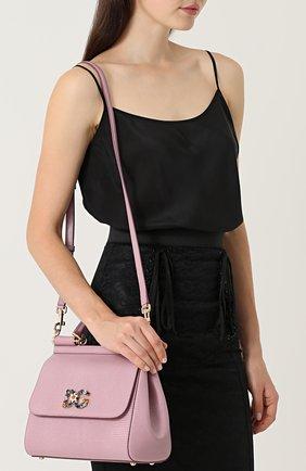 Сумка Sicily medium new с брошью Dolce & Gabbana розовая цвета | Фото №5