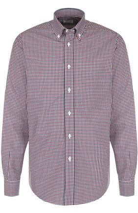 Мужская хлопковая рубашка в клетку с воротником button-down BRIONI бордового цвета, арт. SC02/06053 | Фото 1