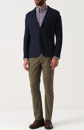 Мужская хлопковая рубашка в клетку с воротником button-down BRIONI бордового цвета, арт. SC02/06053 | Фото 2