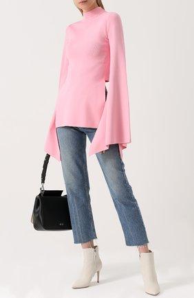 Свитер с воротником-стойкой и расклешенными рукавами Solace розовый | Фото №1