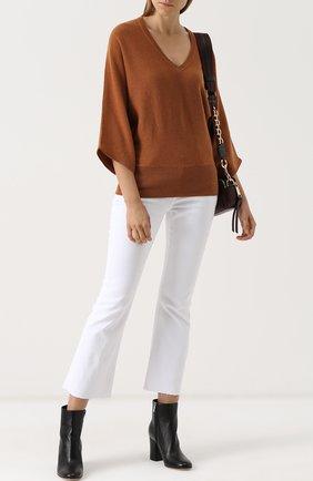 Шерстяной пуловер с укороченным рукавом и V-образным вырезом Tegin темно-серый | Фото №1