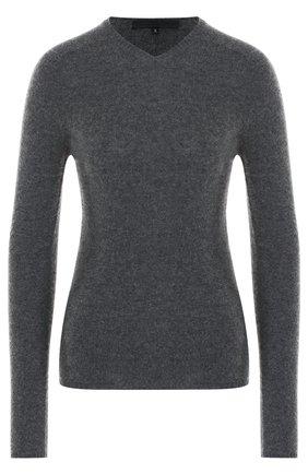 Шерстяной пуловер с V-образным вырезом Tegin черный | Фото №1