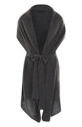 Удлиненный шерстяной кардиган с поясом Tegin темно-серый | Фото №1