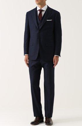 Мужской шерстяной костюм-тройка KITON темно-синего цвета, арт. UAGL81K01X10 | Фото 1