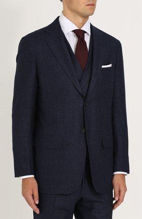 Мужской шерстяной костюм-тройка KITON темно-синего цвета, арт. UAGL81K01X10 | Фото 2