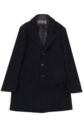 Шерстяное однобортное пальто с пуховой подстежкой Fay Junior темно-синего цвета | Фото №1