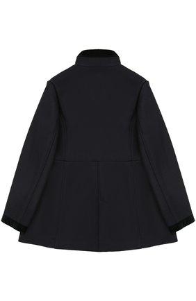 Укороченное пальто с бархатной отделкой Fay Junior синего цвета | Фото №1
