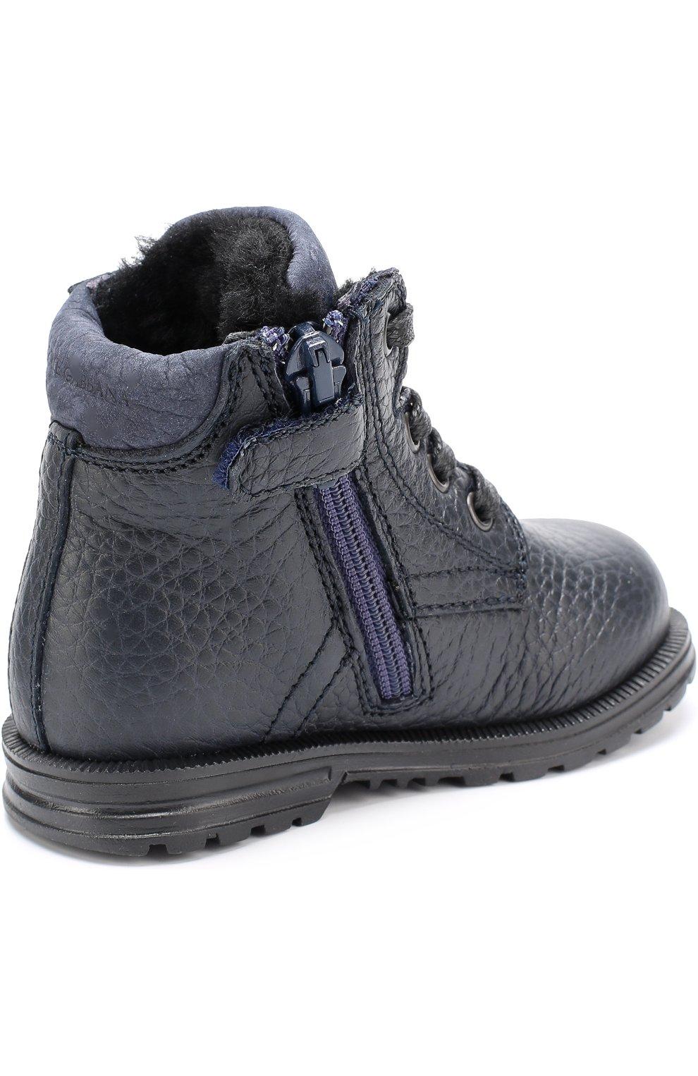 Детские кожаные ботинки на шнуровке Dolce & Gabbana темно-синего цвета | Фото №3