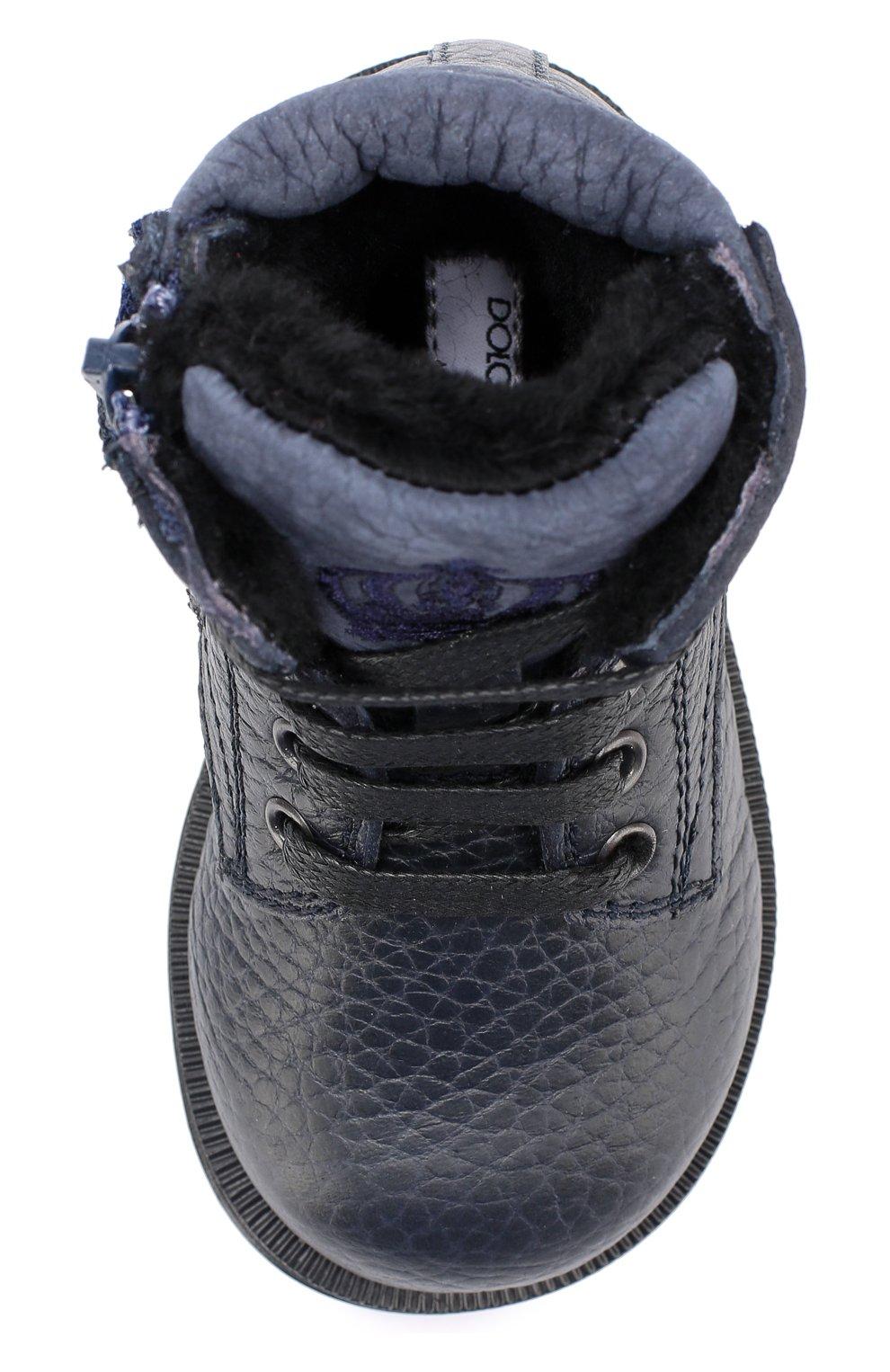 Детские кожаные ботинки на шнуровке Dolce & Gabbana темно-синего цвета | Фото №4