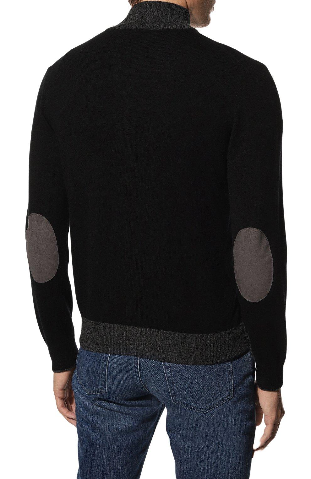Мужской кардиган из шерсти и кашемира GRAN SASSO черного цвета, арт. 55106/19669 | Фото 4