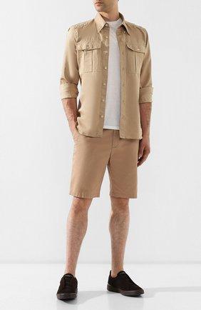 Замшевые кеды с эластичными вставками Zegna Couture коричневые | Фото №1