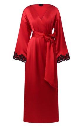 Женский шелковый халат с поясом LA PERLA красного цвета, арт. 0019231 | Фото 1