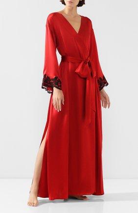 Женский шелковый халат с поясом LA PERLA красного цвета, арт. 0019231 | Фото 2