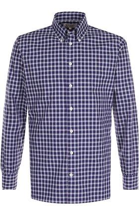 Хлопковая рубашка в клетку с воротником button-down | Фото №1