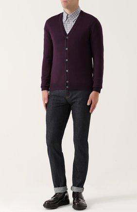 Хлопковая рубашка в клетку с воротником button-down Turnbull & Asser синяя | Фото №1