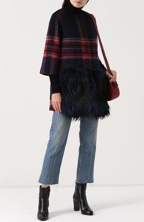 Пальто с укороченным рукавом и отделкой из меха енота Ava Adore разноцветного цвета | Фото №1