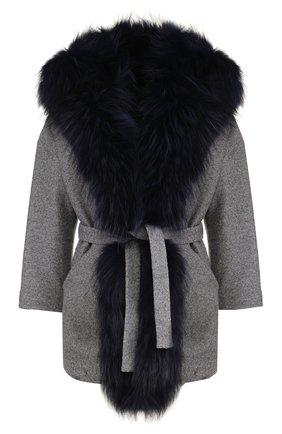 Шерстяное пальто с поясом и меховой отделкой капюшона Ava Adore светло-серого цвета | Фото №1