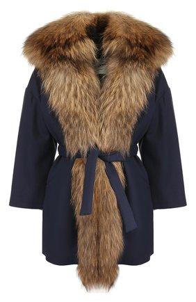 Шерстяное пальто с поясом и меховой отделкой капюшона Ava Adore синего цвета | Фото №1
