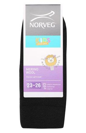 Детские термоноски merino wool Norveg черного цвета | Фото №1