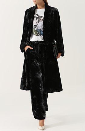 Бархатные брюки прямого кроя с карманами Raquel Allegra синие | Фото №1
