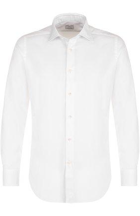 Хлопковая приталенная сорочка с воротником кент Bagutta белая | Фото №1