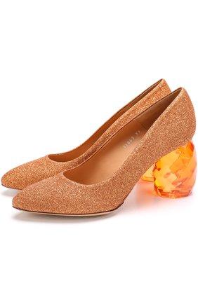 Туфли из металлизированного текстиля на декорированном каблуке | Фото №1