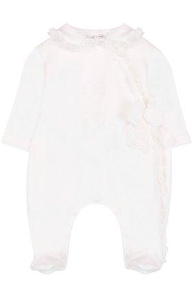 Хлопковая пижама с оборками и бантом | Фото №1