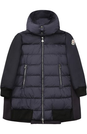 Пуховое пальто с текстильной спинкой и капюшоном Moncler Enfant темно-синего цвета | Фото №1