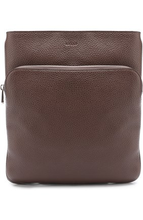 Кожаная сумка-планшет с внешним карманом на молнии Bally темно-синяя   Фото №1