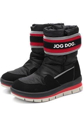 Детские текстильные сапоги с застежкой велькро и контрастной отделкой Jog Dog черного цвета | Фото №1