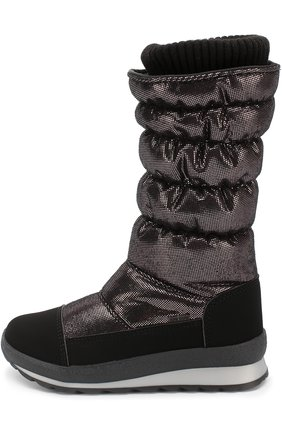 Детские текстильные сапоги с металлизированной отделкой Jog Dog черного цвета | Фото №1