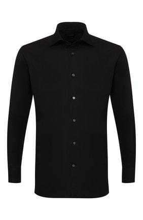 Мужская хлопковая рубашка с воротником кент ERMENEGILDO ZEGNA черного цвета, арт. 201069/9MS0BR | Фото 1