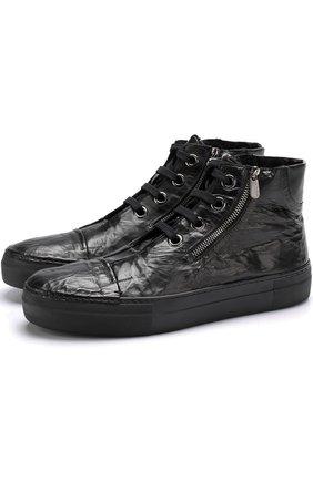 Высокие кожаные кеды на шнуровке с внутренней меховой отделкой Rocco P. черные   Фото №1