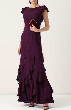 Приталенное платье-макси с оборками Tadashi Shoji темно-фиолетовое | Фото №1