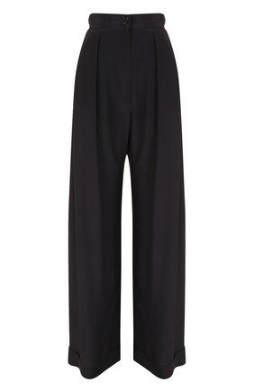 Шелковые брюки с широким поясом и защипами   Фото №1