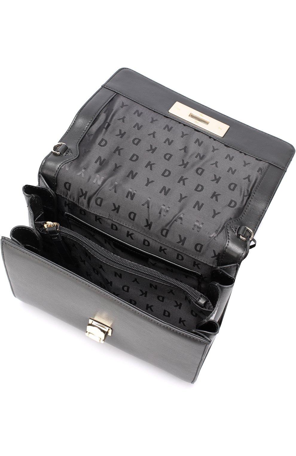 cadd4442cc19 Женская кожаная сумка с клапаном DKNY черная цвета — купить за 23950 ...