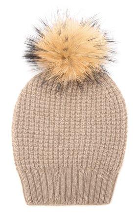 Кашемировая шапка фактурной вязки с меховым помпоном | Фото №1